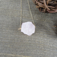 14k gold filled pink rough raw Rose Quartz crystal nugget necklace / bridesmaid necklace / minimalist necklace / dainty / January birthstone