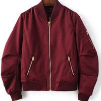Burgundy Red Pleated Bomber Jacket