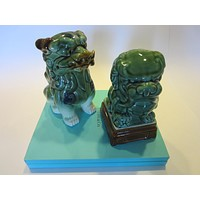 Asian Ceramic Foo Dogs Green Lion Pottery Sculptures