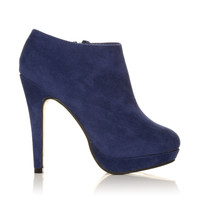 H20 Navy Faux Suede Stilleto Very High Heel Ankle Shoe Boots