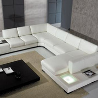 Divani Casa T35 - Modern Bonded White Leather Sectional Sofa with Light