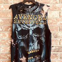 Avenged Sevenfold, size medium  grunge , distressed, bleached band shirt, tank, distressed band t, distressed concert t
