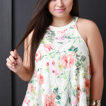 Sheer Layered Floral Trapeze Top