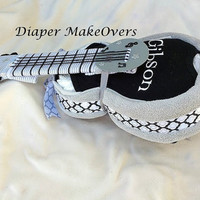 Guitar Diaper Cake - Personalized Baby Gift - Baby Name - Baby Shower Gift - Shower Decor - Gender Neutral - Rock and Roll Theme