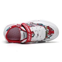 Fashion Off White Canvas Children's Lightweight Sneakers
