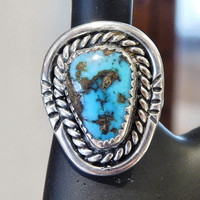 Morenci Turquoise Ring Vintage Sterling Silver Ring Native American Navajo Southwestern Turquoise Vintage Jewelry Artisan Hand Crafted 1970s