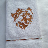 Northwoods Silhouette Grizzly Bear Embroidered bathroom hand towel.