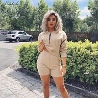 Macheda New Autumn Solid Women Sets Cropped Long Sleeve Tops And Shorts Set 2 Pieces Women Tracksuit Casual T Shirts Shorts