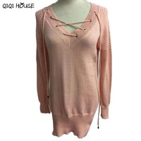 Women Sweaters And Pullovers Pink Loose Casual Pullover Long Sleeve Knit Long Top Sweater Cross Bandage Blusa Manga Longa#C901