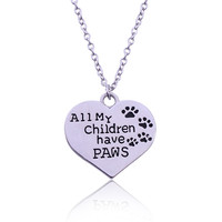 """""""All My Children Have Paws"""" Heart-Shape Necklace"""