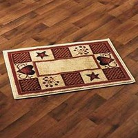 """Hearts Stars & Berries Accent Rug 22"""" x 36"""" Country Rustic Primitive Home Decor"""