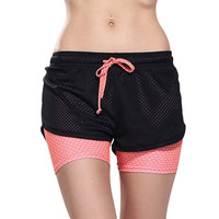 Heal Orange Women Sport Fitness Yoga Shorts 2 In 1 Women Athletic Shorts Cool Ladies Sport Running Short Fitness Clothes Jogging