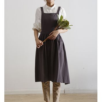 Pinafore Apron Dress One Size for Adults - Charcoal