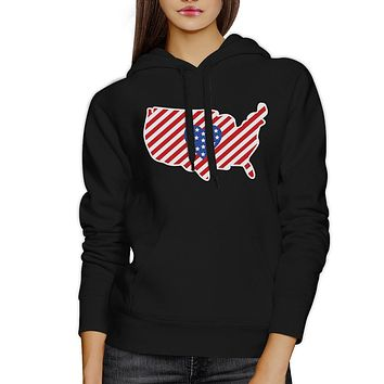 Heart USA Map American Flag Unique 4 Of July Cute Design Hoodie
