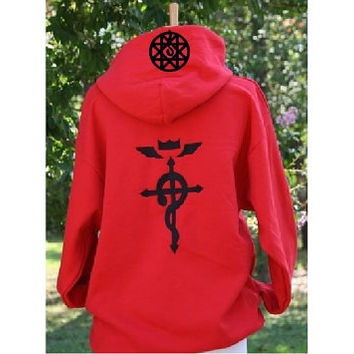 Fullmetal Alchemist Cosplay Inspired style PULL Over or ZIP Front Red Hoodie - FMA/Blood Seal