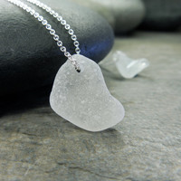 Sea Glass Necklace Abstract Love Two Hearts Nautical Jewelry Beach Comber Wave Tumbled Frosted White Teeny Tiny Ethereal Zen Simple Style