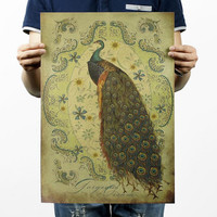 Hand-painted Peacock Poster 20x14