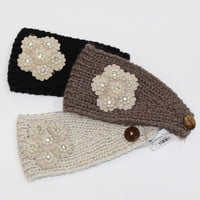 Sparkle Floral Knit Ear Warmers