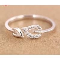 Solid 925 Sterling Silver Adjustable Double Leaf CZ Paved Ring Midi Toe Rings for women's girls' GTLJ707