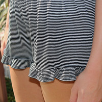 Seaside Babydoll Black And White Stripe Ruffle Shorts