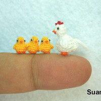 Micro White Hen Yellow Chicks   Tiny Crocheted Chicken by SuAmi