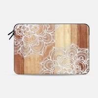 White doodles on blonde wood - neutral / nude colors Macbook 12 sleeve by Micklyn Le Feuvre   Casetify