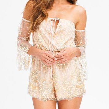 Off Shoulder Boho Glitter Embellished Romper in Nude and Gold