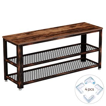 Rolanstar Shoe Bench, Rustic Shoe Rack Bench with Mesh Shelves, Industrial Storage Bench with Stable Metal Frame for Entryway, Mudroom SH001-D 39*11.8*17.7 inch Rustic Brown
