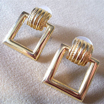 Gold Post Square Open Hoop Knocker Style Earrings, Classic Vintage 80's Yuppie Fashion Jewelry, Simple Elegant Modest Retro Look Ladies Gift