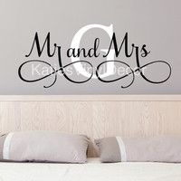 Mr & Mrs Wall Decal Mr. and Mrs. Mr and Mrs Monogram Decal Mr and Mrs Wall Decor Mr and Mrs Wall Art Above the Bed Wall Art Wedding Gift