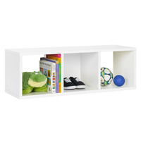 Way Basics 3 Cubby Stackable Storage Bench - White
