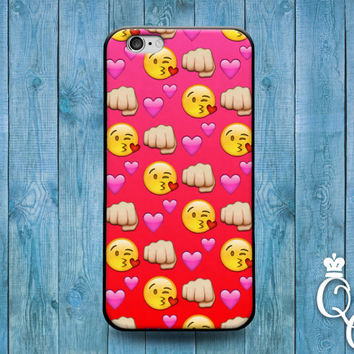 iPhone 4 4s 5 5s 5c 6 6s plus iPod Touch 4th 5th 6th Generation Custom Phone Case Cute Girly Girl Red Emoji Heart Fist Kiss Face Funny Cover