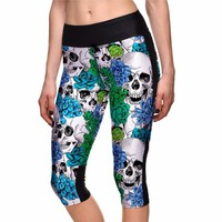 2017 New Arrival Halloween Skull Floral Print Women Sports Capris Pants S To 4xl Plus Size Running Jogging Pants