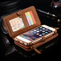 S7 S6 Edge Plus Note 7 5 4 Metal Zipper Wallet 18 Card Slot Photo Frame Case Cover For iPhone 7 6 6S Plus 5 5SE For Galaxy S6 S7