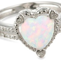 Sterling Silver Created Opal and Diamond Accent Heart Ring