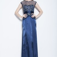 Beutifly Blue Lace Long Satin Evening Mother Bridesmaid Ball Gown Party Dress