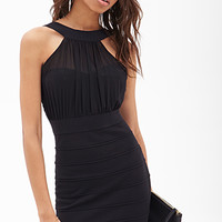 FOREVER 21 Chiffon-Paneled Sheath Dress Black