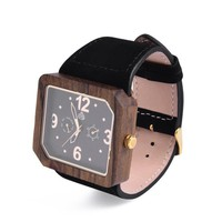 The Terra Juglan GOLD, 100% natural recycled Walnut Mens Wood watch with Italian leather strap