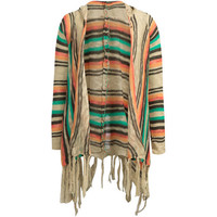 Full Tilt Bright Pop Girls Fringe Hooded Wrap Sweater Taupe  In Sizes