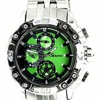 Silver Band Green Dial(Invicta Style) Mens Metal Watch
