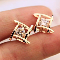 Gold Plated Cubic Zirconia Stud Earrings - Save 56%!
