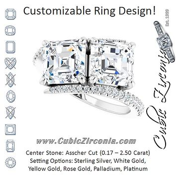 Cubic Zirconia Engagement Ring- The Nellie (Customizable Double Asscher Cut 2-stone Design with Ultra-thin Bypass Band and Pavé Enhancement)