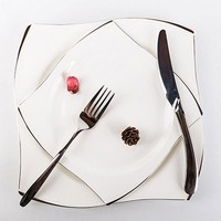 ONETOW Dishes Plates Silver Inlay Bone-China  Dessert Bowls Steak Western Cutlery Suit Tableware  Household Food Plate
