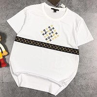 LV Summer New Fashion Embroidery Monogram Print Women Men Top T-Shirt White