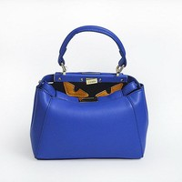Newest FENDI Fashion Blue textured leather shopper tote handbag bag