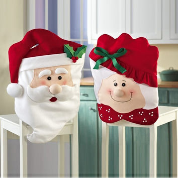 2pcs Mr & Mrs Santa Claus Indoor Christmas Decorations Kitchen Chair Covers dinner chairs covers ,Banquet Chair covers = 1946505028