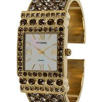 Pedre Austrian Crystal Pave Cuff Watch - Topaz and Clear Crystals