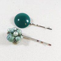 Round teal green bobby pin, aqua blue hair pins, vintage 1950s clip earring, beach hair pin, wedding bobby pin, bridal bobby pin
