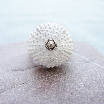 Sterling Silver Sea Urchin Ring White Sultan Ring