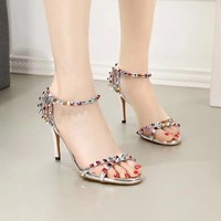 Valentino Women Fashion Casual Low Heeled Shoes Sandals Shoes